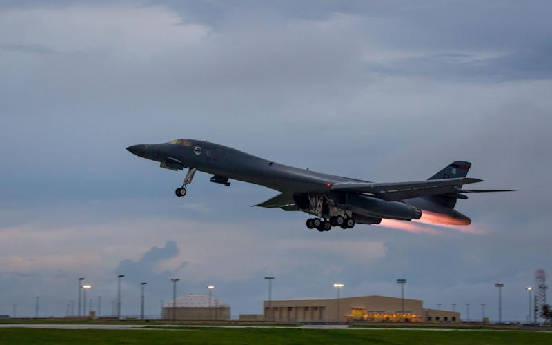 A US Air Force B-1B Lancers takes off from Andersen Air Force Base, Guam - AFP