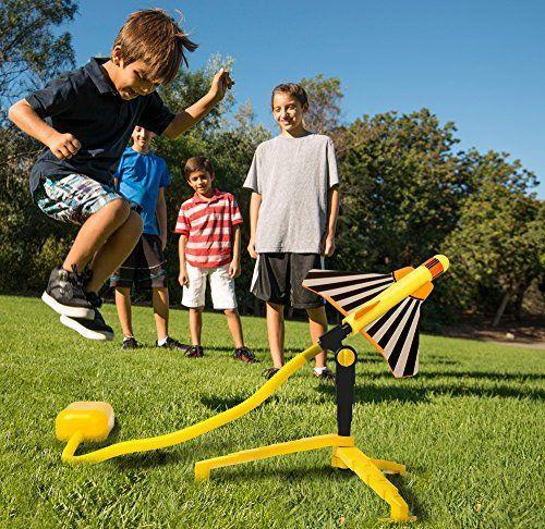 """<p><strong>Stomp Rocket</strong></p><p>amazon.com</p><p><strong>$29.99</strong></p><p><a href=""""https://www.amazon.com/dp/B075VZJ7C2?tag=syn-yahoo-20&ascsubtag=%5Bartid%7C10055.g.29024275%5Bsrc%7Cyahoo-us"""" rel=""""nofollow noopener"""" target=""""_blank"""" data-ylk=""""slk:Shop Now"""" class=""""link rapid-noclick-resp"""">Shop Now</a></p><p>No batteries needed to launch these foam prop planes, they're 100% manpowered (kidpowered?) Jumping on the launcher, and running to catch the plane, will keep even the most energetic kids occupied.</p>"""