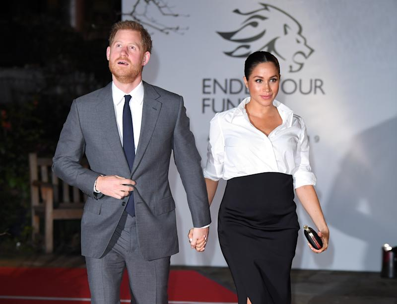 LONDON, ENGLAND - FEBRUARY 07: Prince Harry, Duke of Sussex and Meghan, Duchess of Sussex attend the Endeavour Fund Awards at Drapers Hall on February 7, 2019 in London, England. (Photo by Karwai Tang/WireImage)