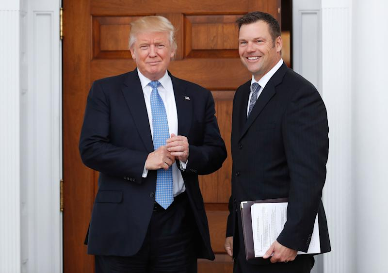 Kansas Secretary of State Kris Kobach met with President-elect Donald Trump during the transition in 2016 to discuss a possible Cabinet role and brought along suggestions for changing federal voting laws. He later pushed hard for a citizenship question in the 2020 census.