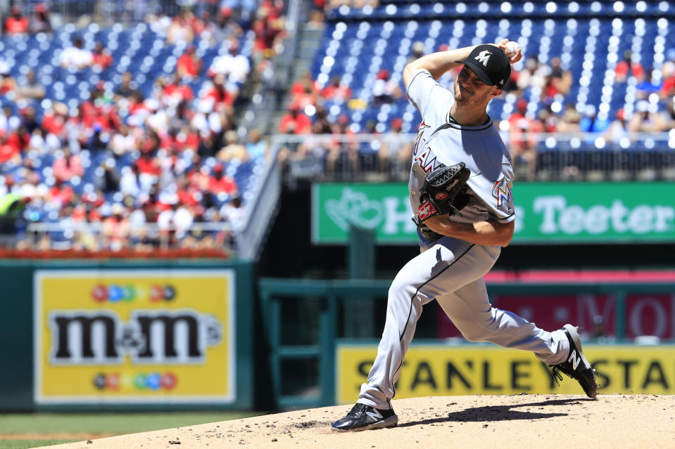 Miami Marlins starting pitcher Trevor Richards throws during the first inning of a baseball game against the Washington Nationals in Washington, Sunday, July 8, 2018. (AP Photo/Manuel Balce Ceneta)