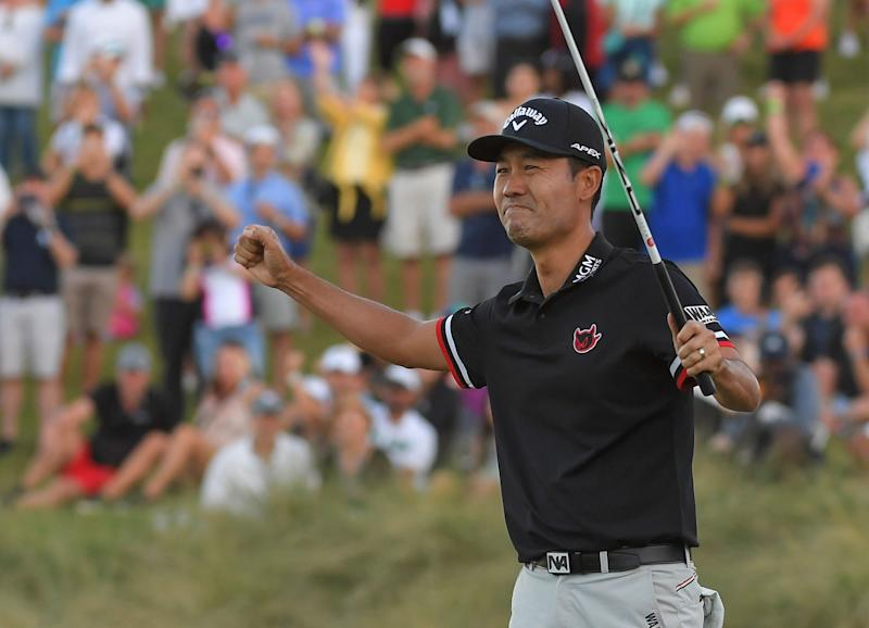 Kevin Na celebrates after winning in a two-hole playoff at the 2019 Shriners Hospitals for Children Open.