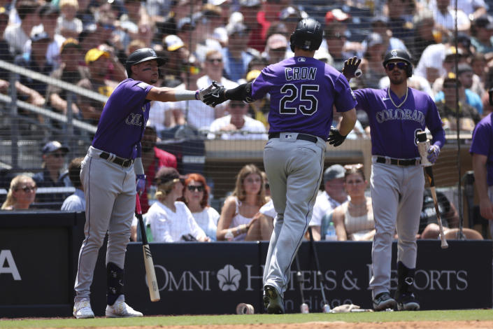 Colorado Rockies' C.J. Cron, center, is congratulated by Yonathan Daza, left, and Joshua Fuentes, right, after hitting a solo home run against the San Diego Padres in the fourth inning of a baseball game Sunday, July 11, 2021, in San Diego. (AP Photo/Derrick Tuskan)