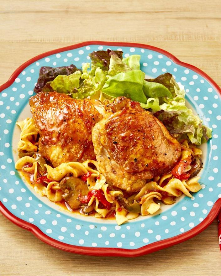 """<p>The chicken skin gets perfectly crispy in the Instant Pot without overcooking it.</p><p><strong><a href=""""https://www.thepioneerwoman.com/food-cooking/recipes/a32477787/instant-pot-chicken-cacciatore-recipe/"""" rel=""""nofollow noopener"""" target=""""_blank"""" data-ylk=""""slk:Get the recipe."""" class=""""link rapid-noclick-resp"""">Get the recipe.</a></strong> </p>"""