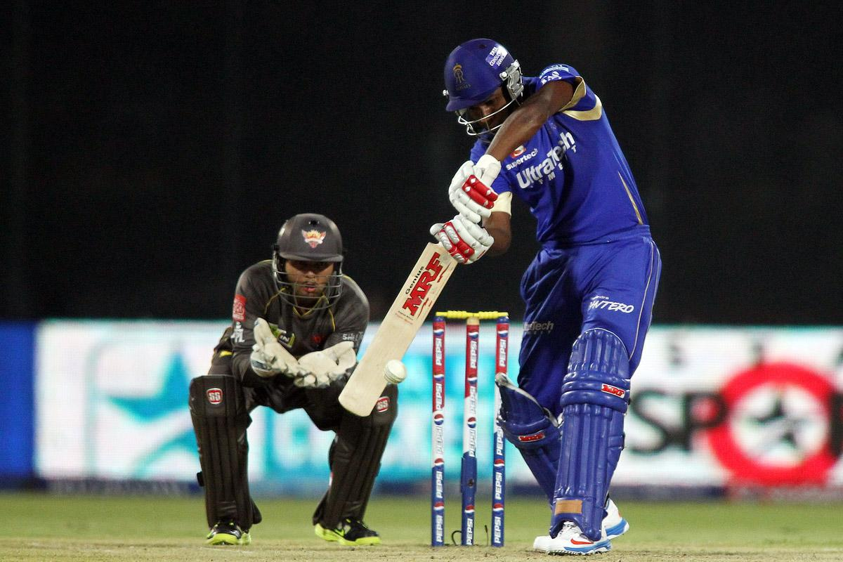 Sanju Samson of Rajasthan Royals plays a delivery during the eliminator match of the 2013 Pepsi Indian Premier League between The Rajasthan Royals and the Sunrisers Hyderabad held at the Feroz Shah Kotla Stadium, Delhi on the 22nd May 2013. (BCCI)