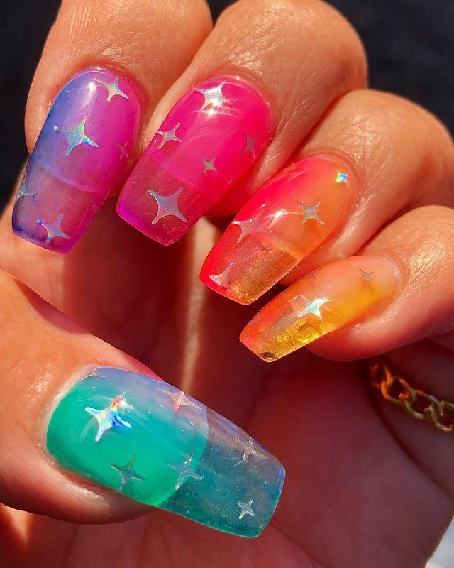 """<p>Jelly nails are a huge <a href=""""https://www.cosmopolitan.com/uk/beauty-hair/nails/g28552605/summer-nails/"""" rel=""""nofollow noopener"""" target=""""_blank"""" data-ylk=""""slk:trend for summer 2019"""" class=""""link rapid-noclick-resp"""">trend for summer 2019</a>, and we're particularly loving this '90s ombre design.</p><p><a href=""""https://www.instagram.com/p/Bycmk3gliEw/"""" rel=""""nofollow noopener"""" target=""""_blank"""" data-ylk=""""slk:See the original post on Instagram"""" class=""""link rapid-noclick-resp"""">See the original post on Instagram</a></p>"""