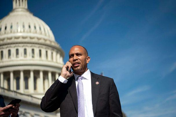 PHOTO: Democratic Caucus Chair Hakeem Jeffries, D-N.Y., talks on the phone after the last votes of the week on Capitol Hill, Sept. 27, 2019. (Caroline Brehman/CQ-Roll Call/Getty Images)