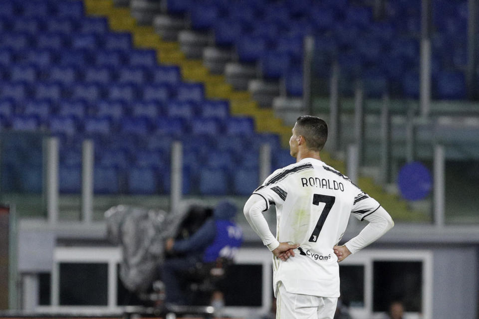 Cristiano Ronaldo and other players who would have featured in this week's Champions League matches have tested positive for the coronavirus. (AP Photo/Gregorio Borgia)
