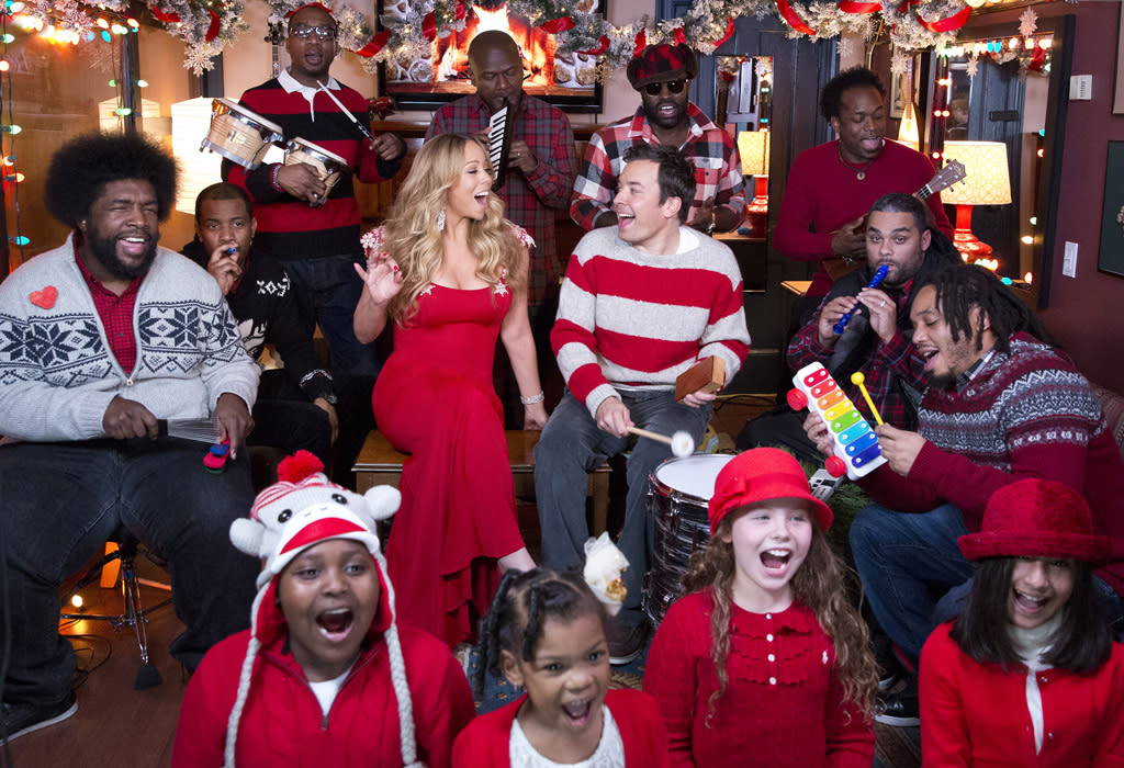 "LATE NIGHT WITH JIMMY FALLON -- Pictured: Mariah Carey joins Jimmy Fallon & The Roots singing a special rendition of her self-penned #1 holiday classic ""All I Want For Christmas Is You"" using classroom instruments. The Roots (l-r) Questlove, Damon ""Tuba Gooding Jr."" Bryson, James Poyser, F. Knuckles, Captain Kirk Douglas, Kamal Gray, Mark Kelley -- (Photo by: Lloyd Bishop/NBC/NBCU Photo Bank)"