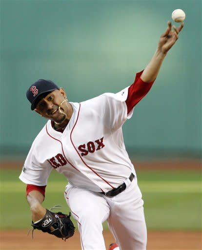 Boston Red Sox's Franklin Morales pitches in the first inning of a baseball game against the Atlanta Braves in Boston, Saturday, June 23, 2012. (AP Photo/Michael Dwyer)