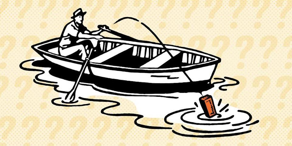"""<p>You are sitting in a rowboat on a small lake. You have a brick in your boat. You toss the brick out of your boat into the lake, where it quickly sinks to the bottom.</p><p>Does the water level rise slightly, drop slightly, or stay the same?<br><br><strong>Hint<br><br></strong>Think about the density of the brick.<br><br>Toss that brick overboard, and then check the solution <a href=""""https://www.popularmechanics.com/science/math/a25150/solution-riddle-of-the-week-15/"""" rel=""""nofollow noopener"""" target=""""_blank"""" data-ylk=""""slk:here"""" class=""""link rapid-noclick-resp"""">here</a>.</p>"""