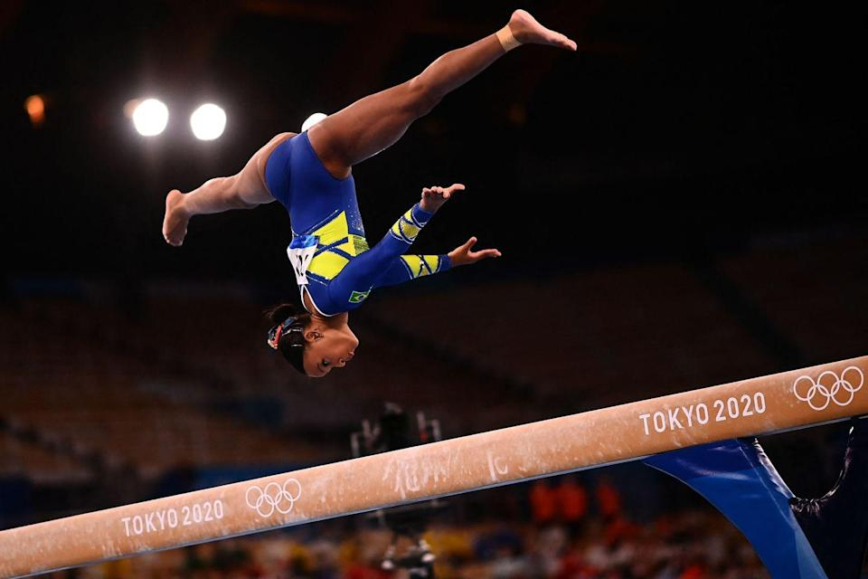 <p>Brazil's Rebeca Andrade competes in the balance beam event of the artistic gymnastics women's all-around final.</p>