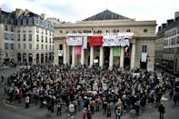 France has tigntened measures to fight the coronavirus but musicians gave an outdoor concert in the centre of the capital