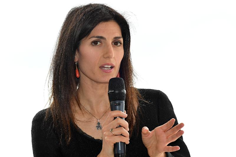 """Rome mayor Virginia Raggi (pictured April 11, 2019) said the city is """"under attack from criminals that continue to act against citizens"""" hours after firefighters managed to control a blaze in an eastern suburb"""