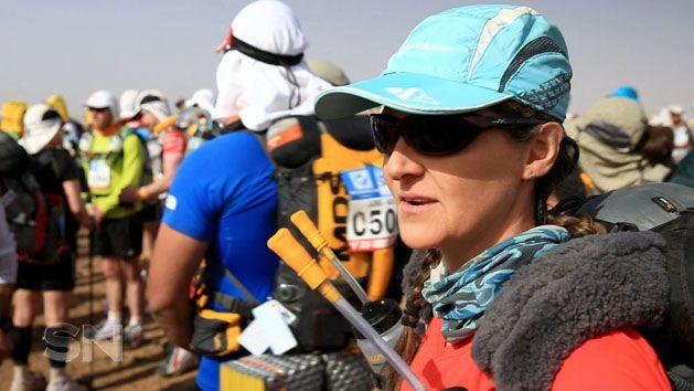 Kate calms herself for the start of her six-day slog.