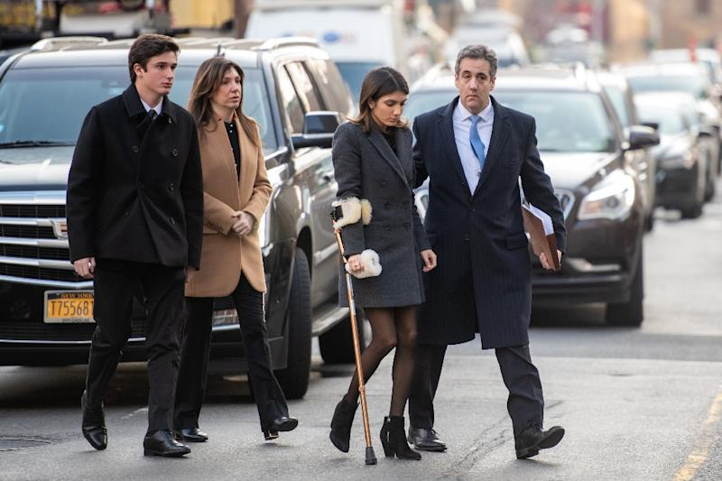 US President Donald Trump's former attorney Michael Cohen arrives with family members for his sentencing for multiple crimes (AFP Photo/COREY SIPKIN)