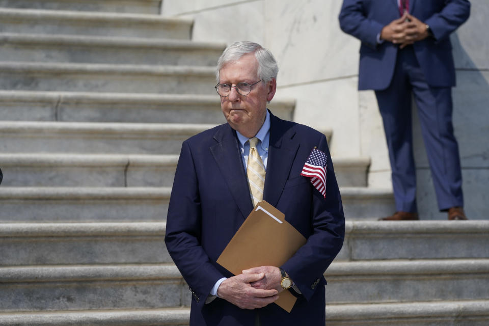 Senate Minority Leader Mitch McConnell, R-Ky., waits to speak during a Sept. 11 remembrance ceremony, at the Capitol in Washington, Monday, Sept. 13, 2021. (AP Photo/J. Scott Applewhite)
