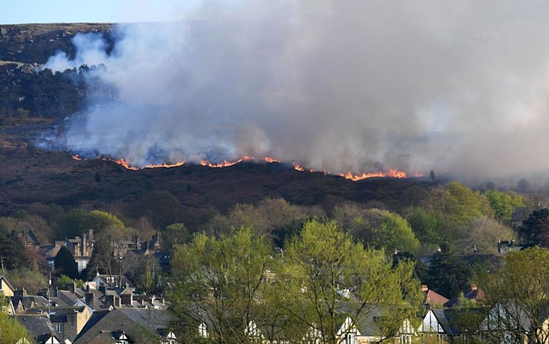 Wildfires on Ilkley Moor in West Yorkshire - REX