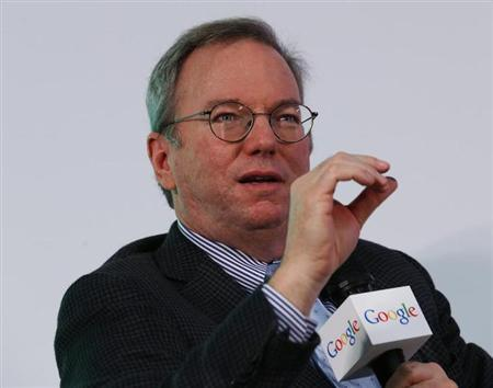 Google Executive Chairman Schmidt speaks during a talk at the Chinese University of Hong Kong