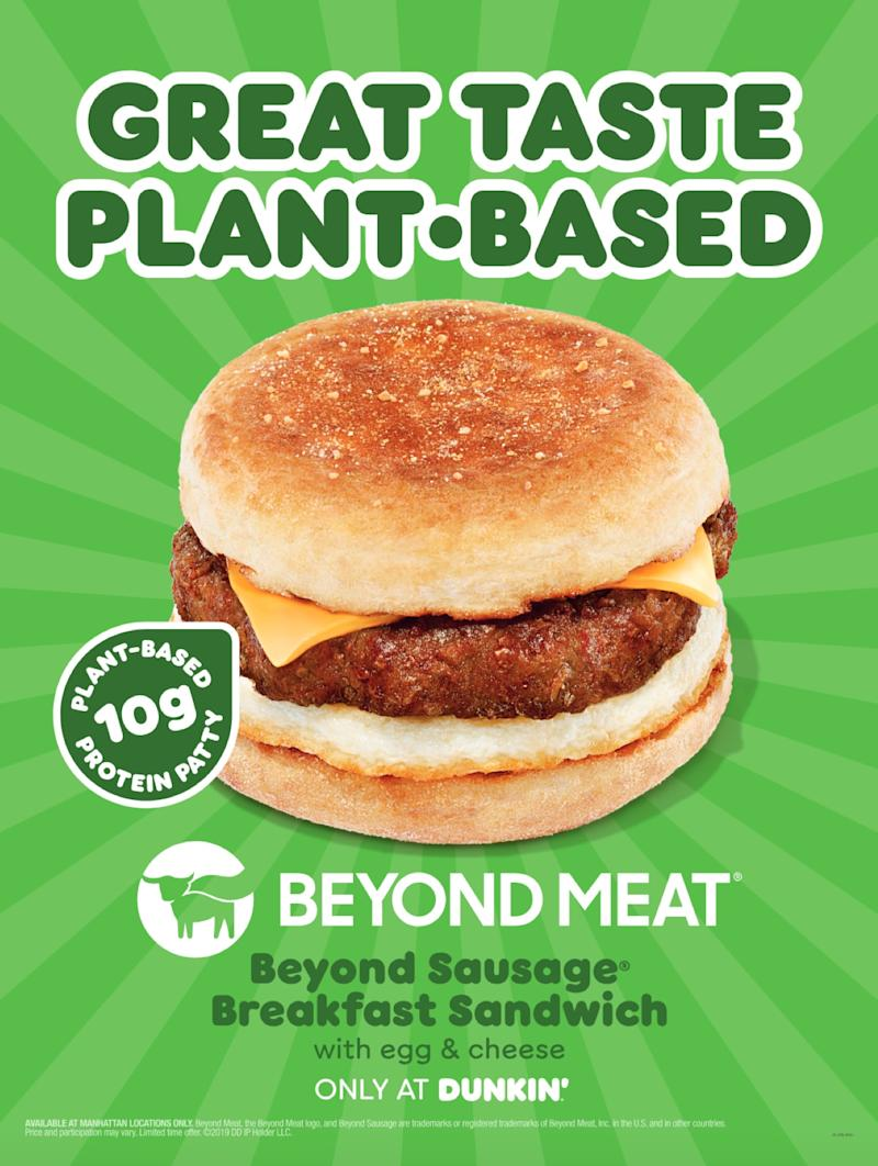 Dunkin's new Beyond Sausage Breakfast Sandwich (Photo: Dunkin')