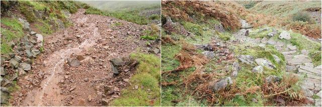 Before and after pictures of Silver How fell in Grasmere