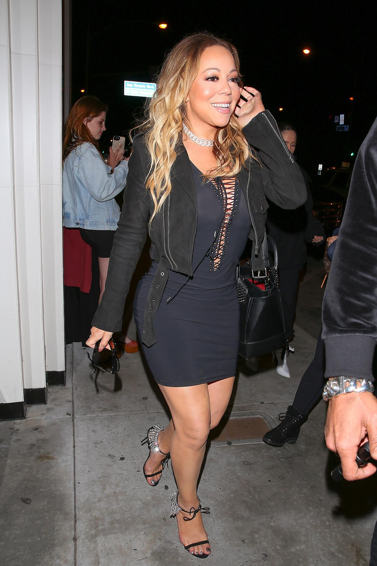 AG_183118 -  - West Hollywood, CA - Mariah Carey is spotted heading to Catch LA. The songbird has a major wardrobe mishap as she goes braless in a sheer mini dress exposing more than she intended to. She smiles unknowingly as she heads to a late dinner at the hotspot.  Pictured: Mariah Carey  AKM-GSI 23 MARCH 2017  BYLINE MUST READ: Maciel / AKM-GSI    Maria Buda (917) 242-1505 mbuda@akmgsi.com   Mark Satter (317) 691-9592 msatter@akmgsi.com or sales@akmgsi.com