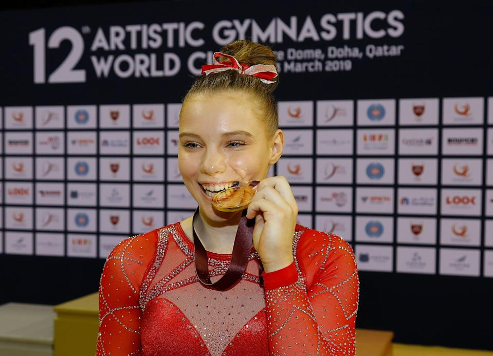 """<p>Carey also told POPSUGAR that at least once a week, she and her teammates complete an ab circuit at gymnastics practice that features about 25 different exercises done lying on the floor. Some of the exercises are hollow holds, hollow body rocks, V-ups, single-leg V-ups, straddle V-ups, and arch ups. <a href=""""https://www.popsugar.com/fitness/jade-carey-olympic-training-ab-exercises-47894303"""" class=""""link rapid-noclick-resp"""" rel=""""nofollow noopener"""" target=""""_blank"""" data-ylk=""""slk:Read how to do those moves here"""">Read how to do those moves here</a>.</p>"""