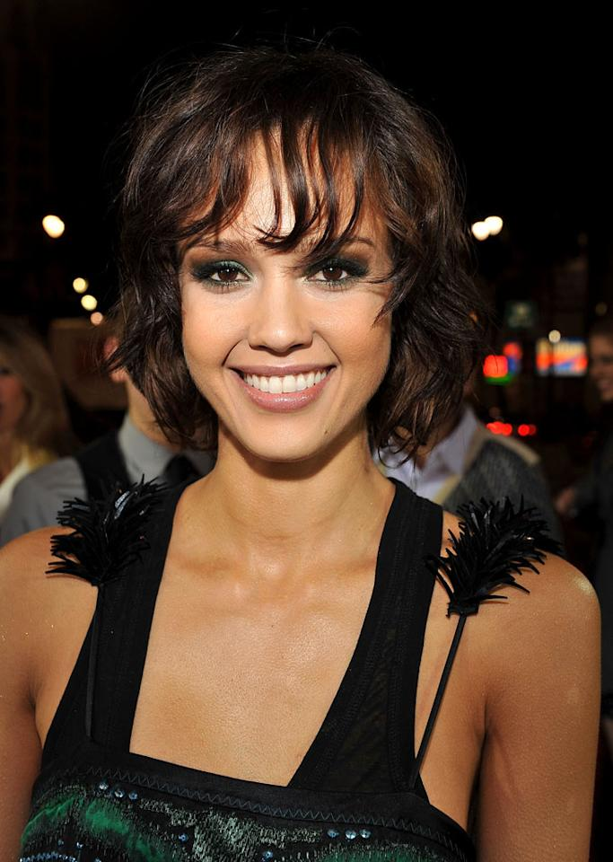 """Much of the reason """"Valentine's Day"""" goddess Jessica Alba's such a fan favorite is that she's not afraid to mix up her look, whether with freshly cropped locks or daring makeup. Lester Cohen/<a href=""""http://www.wireimage.com"""" target=""""new"""">WireImage.com</a> - February 8, 2010"""