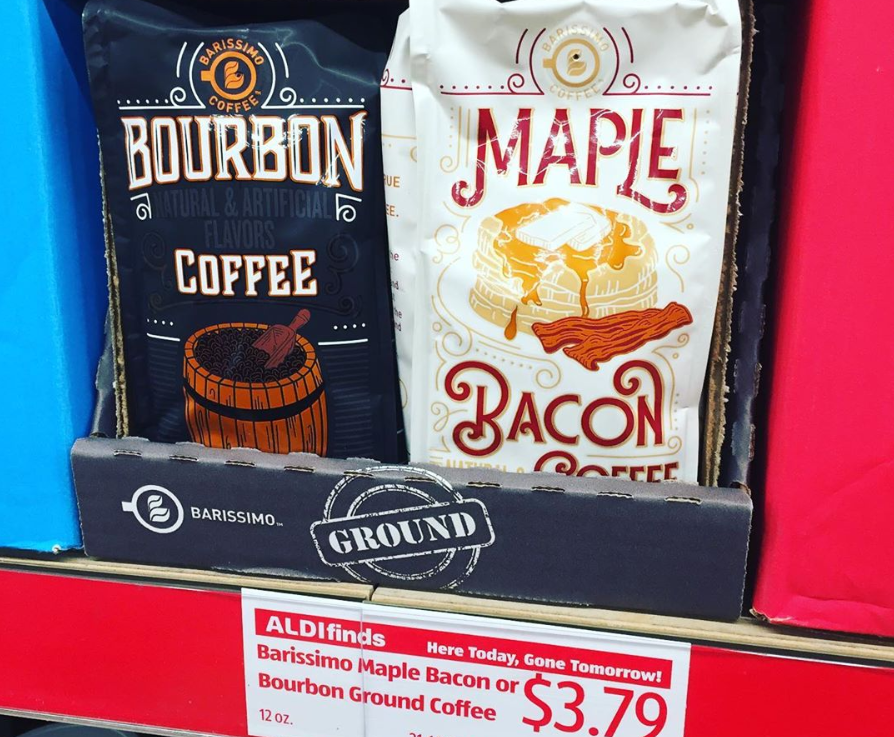 """<p>Aldi's Barissimo line of coffee gets rave <a href=""""https://www.instagram.com/aldifavoritefinds/"""" rel=""""nofollow noopener"""" target=""""_blank"""" data-ylk=""""slk:reviews"""" class=""""link rapid-noclick-resp"""">reviews</a> for its balance of strength and flavor, all at budget-friendly prices. To make this java boost even more appealing, Barissimo creates flavors that keep coffee fans excited to try new varieties. Mornings are a whole lot more interesting when your cup of coffee has notes of maple bacon or bourbon.</p>"""