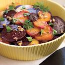 """<p><strong>Recipe: <a href=""""https://www.southernliving.com/syndication/simple-beet-salad"""" rel=""""nofollow noopener"""" target=""""_blank"""" data-ylk=""""slk:Simple Beet Salad"""" class=""""link rapid-noclick-resp"""">Simple Beet Salad</a></strong></p> <p>Throw this together when you're in a pinch. Beets do all the heavy lifting and a pre-made balsamic vinaigrette will do just fine.</p>"""