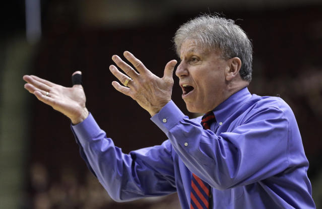 DePaul coach Doug Bruno yells to his players during the first half of a second-round game against Texas A&M in the NCAA women's college basketball tournament in College Station, Texas, Sunday, March 18, 2018. (AP Photo/David J. Phillip)