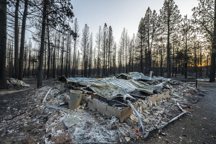 A home destroyed by the Bootleg Fire is seen here on Wednesday, July 21, 2021 near Bly, Ore. (AP Photo/Nathan Howard)