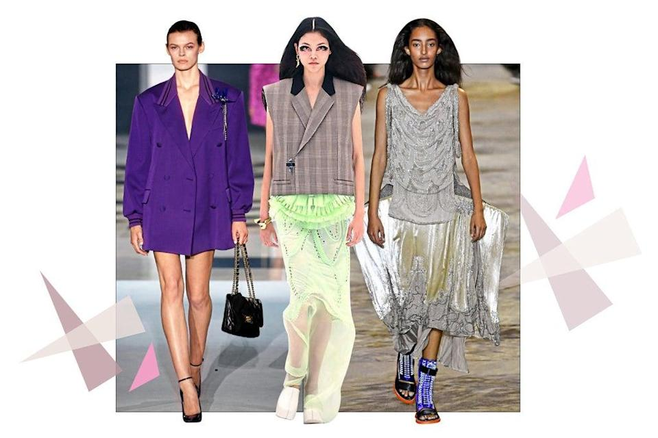 (Boxy shouldered jackets were seen at Lanvin and Givenchy, while Louis Vuitton showed low-key evening wear)
