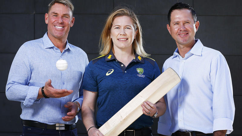 Shane Warne, Alex Blackwell and Ricky Ponting, pictured here outside thee MCG.
