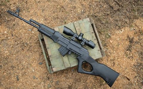 AK-47 style assault rifle made in Bulgaria by the Arsenal armaments factory - Credit: Simon Townsley