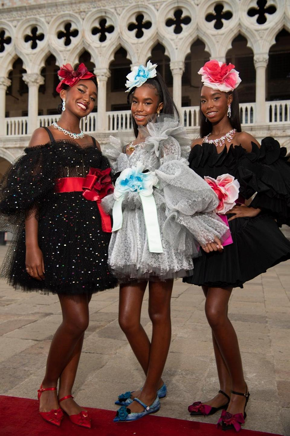 Chance, D'Lila Star and Jessie James Combs, daughters of Sean Combs took their turn on the catwalk (Dolce & Gabanna)