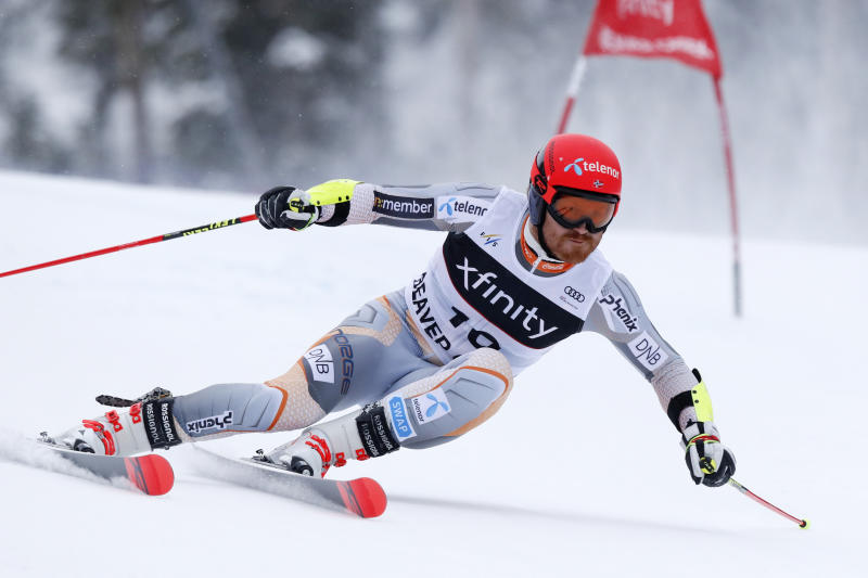 Norway's Leif Kristian Nestvold-Haugen skis during a men's World Cup giant slalom skiing race Sunday, Dec. 8, 2019, in Beaver Creek, Colo. (AP Photo/Robert F. Bukaty)