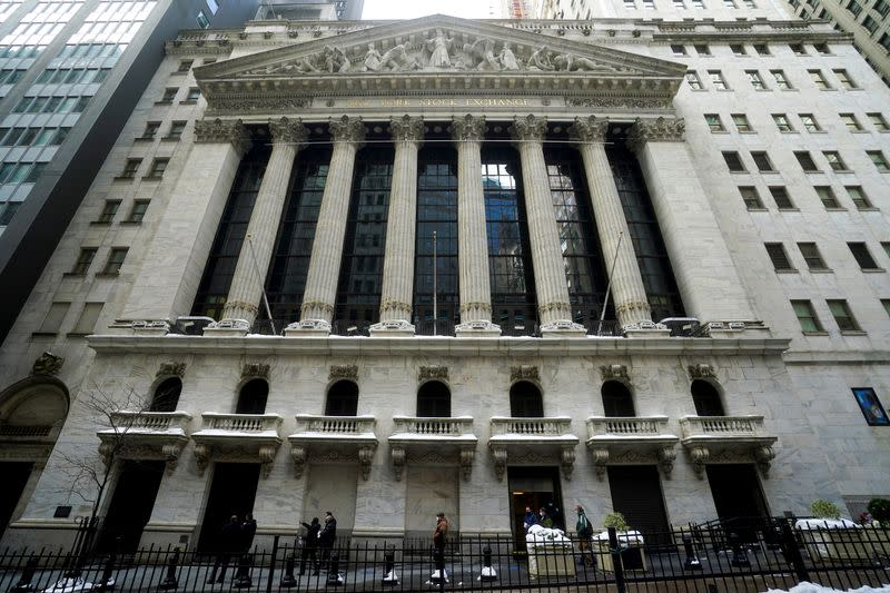 People get a tour of the New York Stock Exchange in New York