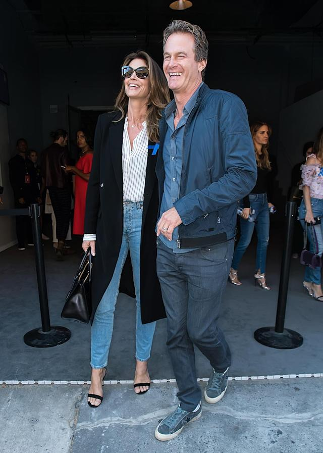 <p>Cindy Crawford and Rande Gerber arrive at the Brock Collection fashion show during New York Fashion Week on September 7, 2017. (Photo by Gilbert Carrasquillo/GC Images) </p>