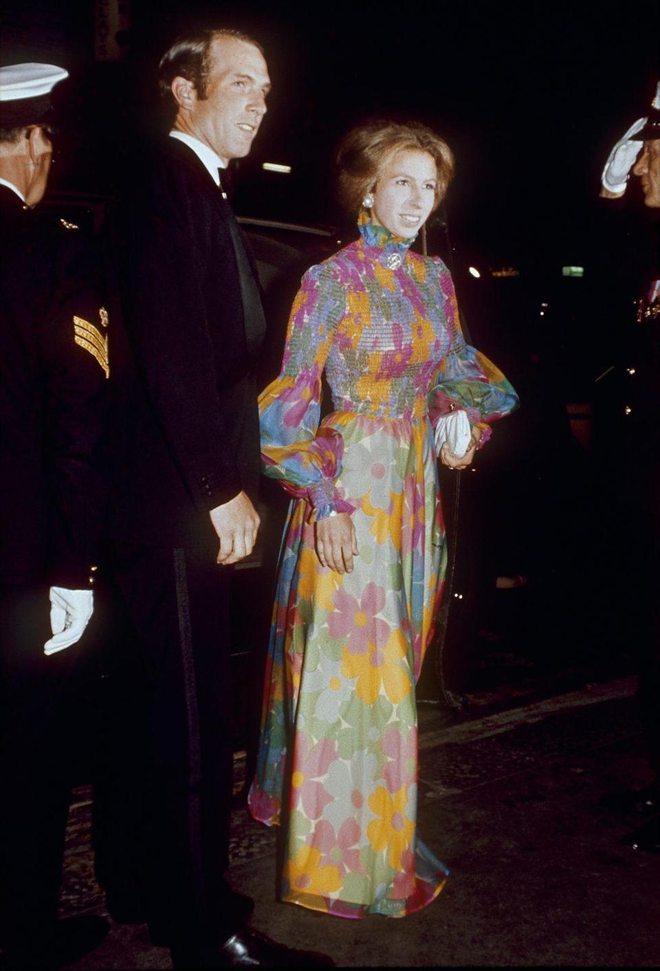 <p>Princess Anne wore a floral printed gown with a sleek updo to a film premiere in London with her husband, Mark Phillips.</p>