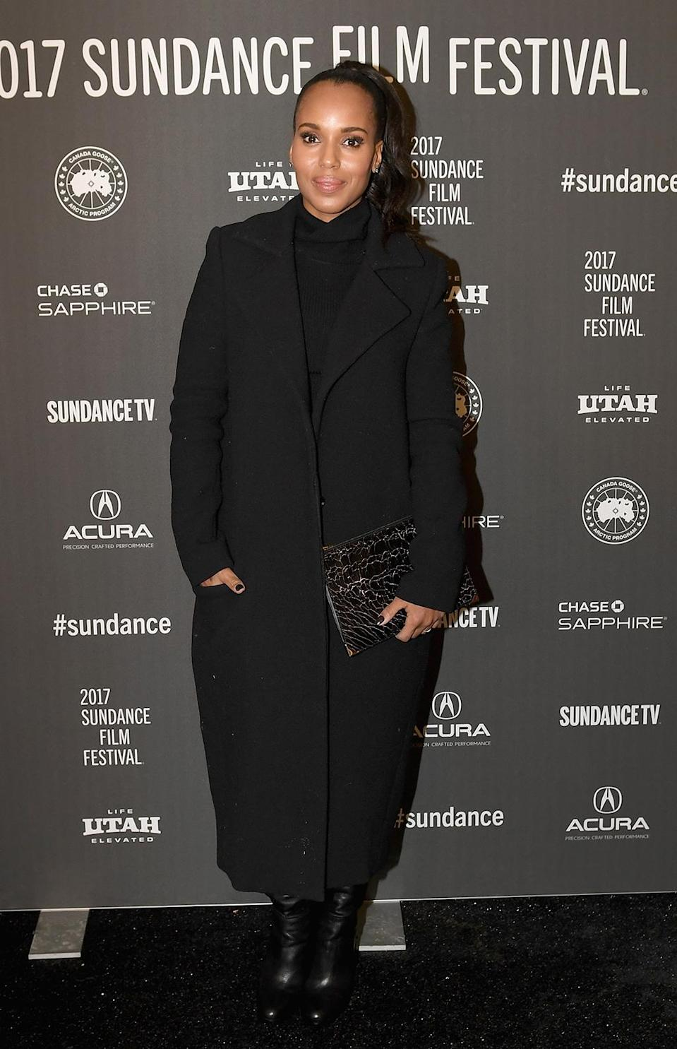 <p>The 'Scandal' star poses at the 'Crown Heights' premiere on Jan. 23. (Photo: Sonia Recchia/Getty Images) </p>