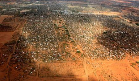 An aerial view shows makeshift shelters at the Dagahaley camp in Dadaab, near the Kenya-Somalia border in Garissa County