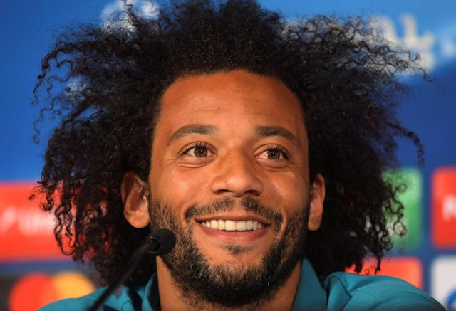 Soccer Football - Champions League Final - Real Madrid Press Conference, NSC Olympic Stadium, Kiev, Ukraine - May 25, 2018 Real Madrid's Marcelo during the press conference UEFA/Pool via REUTERS *** Local Caption *** Marcelo