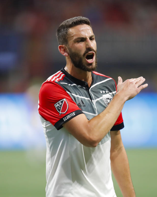 D.C. United defender Steve Birnbaum (15) reacts in the second half of an MLS soccer game against Atlanta United, Sunday, March 11, 2018, in Atlanta. (AP Photo/Todd Kirkland)