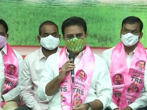 KT Rama Rao addressing a press conference here in Hyderabad on Sunday.