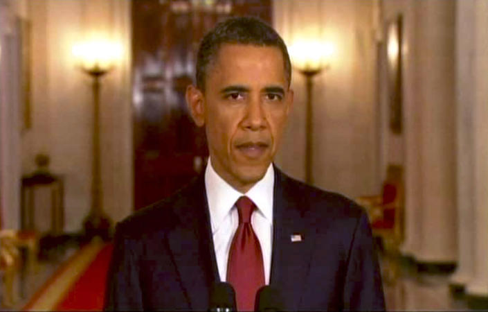President Barack Obama addresses the nation on May 2, 2011, to announce that Osama bin Laden is dead. (Photo: APTN/AP)