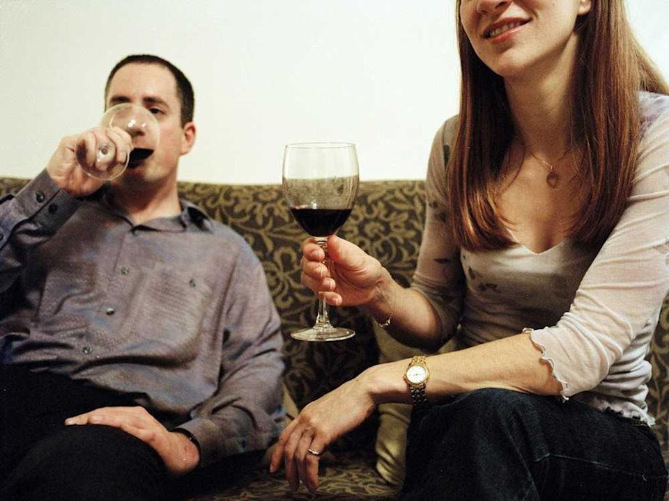 Friends Drinking Wine at Home