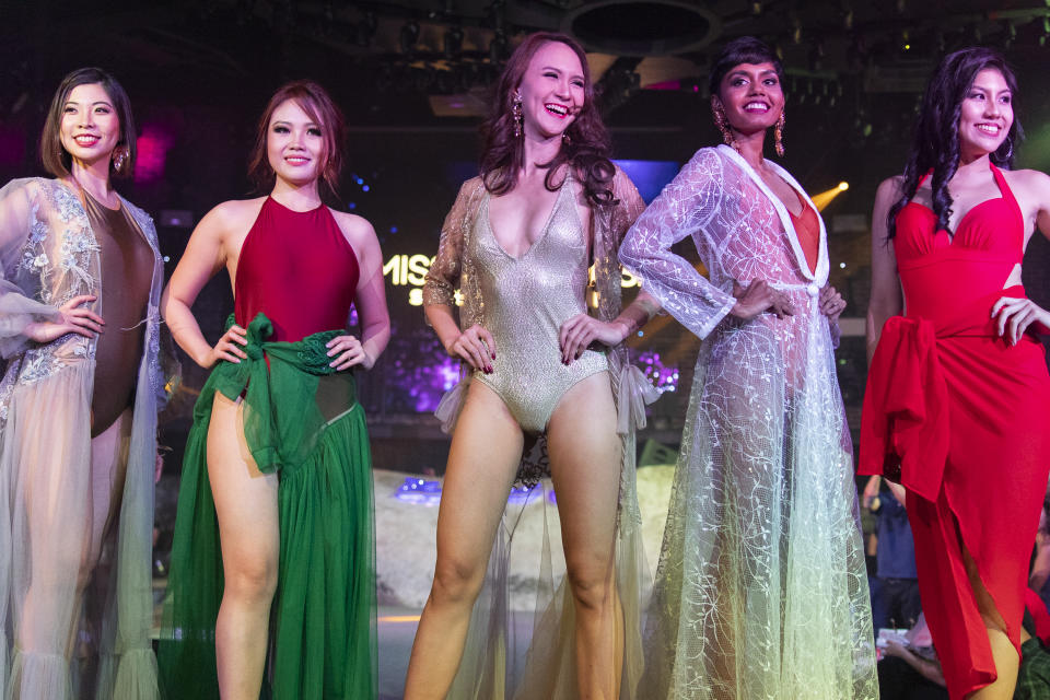 (L-R) Top 10 finalists of the 2019 Miss Universe Singapore Mia Chow, Nerrine Ng, Valencia Quah, Mohanaphraba and Lynette Chua competing in the swimwear segment.