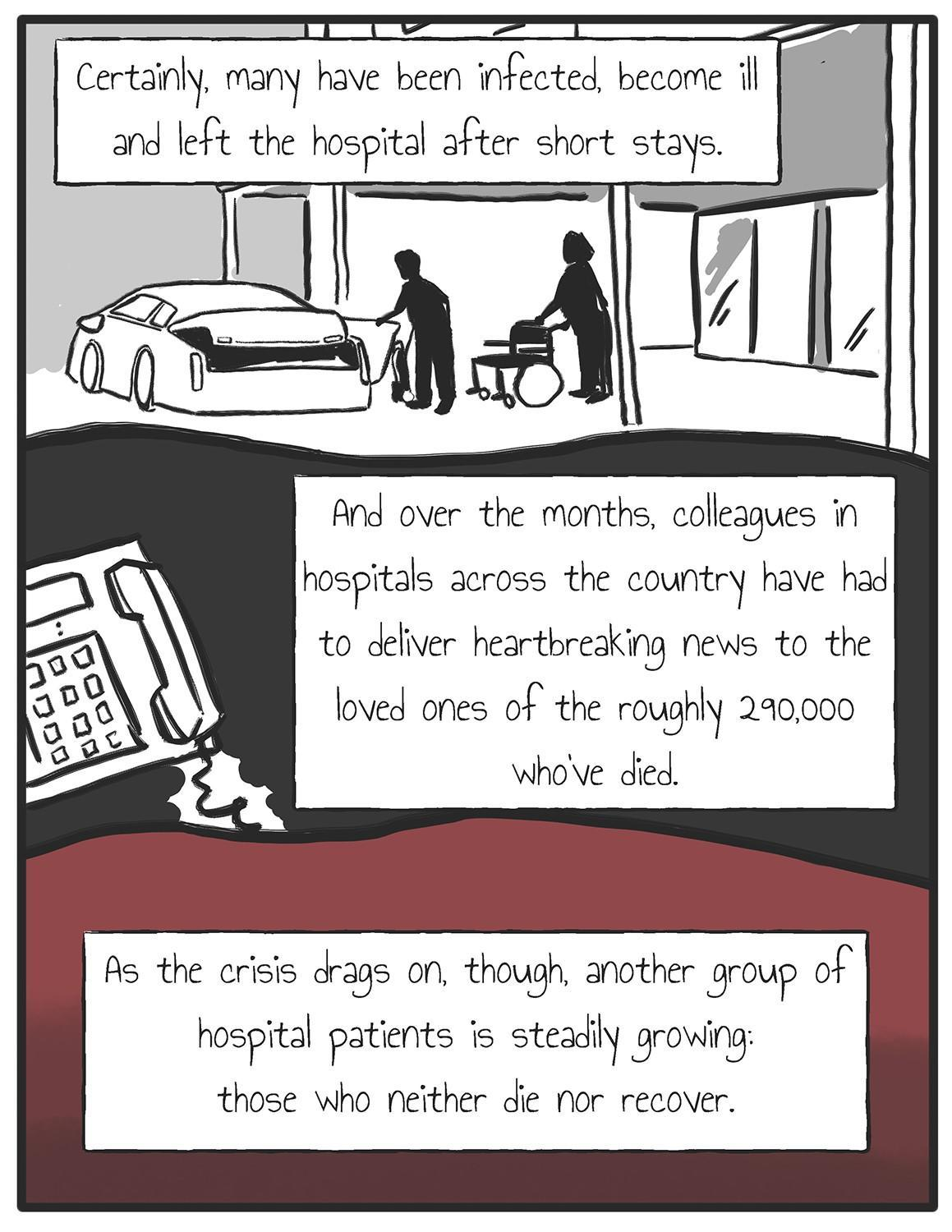 A series of nine Nathan Gray panels on medical purgatory in the time of the COVID-19 pandemic