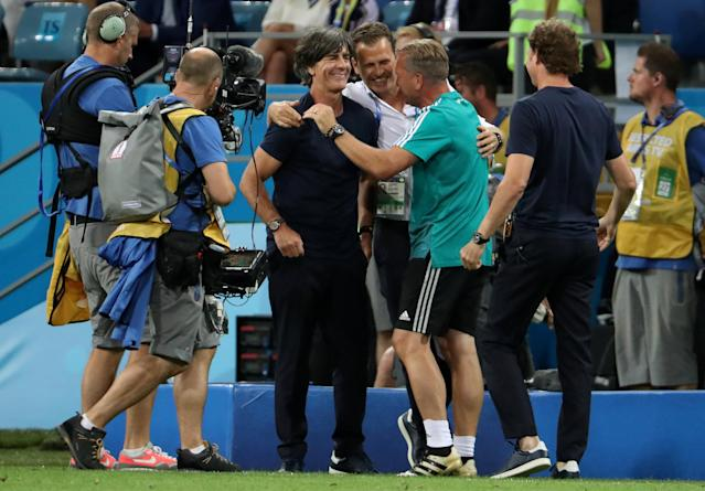 Soccer Football - World Cup - Group F - Germany vs Sweden - Fisht Stadium, Sochi, Russia - June 23, 2018 Germany coach Joachim Low celebrates at the end of the match REUTERS/Francois Lenoir